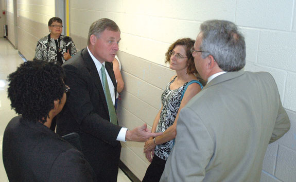 Burr visits Louisburg High