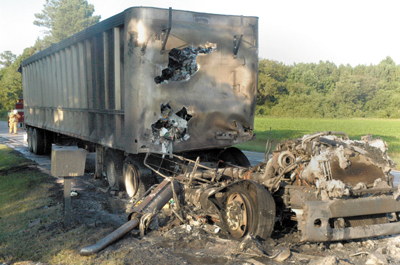 Truck catches fire, driver escapes injury