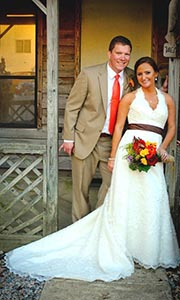 <i>Couple exchanges vows in outdoor ceremony</i>